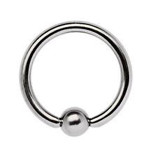 Titan Intim Ohr Piercing Schmuck BCR Ring mit Kugel 1,6mm Stärke, 6-18mm Größe