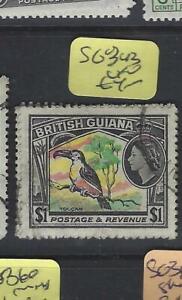 BRITISH GUIANA  (PP2601B)  QEII  $1  BIRD  SG 343   VFU