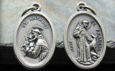 "2 sided SAINT FRANCIS ANTHONY pendant 20"" Sterling Silver 925 necklace men women"