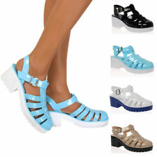 Buckle Block Heel Ankle Strap Sandals & Flip Flops for Women