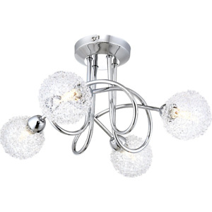 Contemporary 4-Arm Chrome Ceiling Light with Unique Wire Mesh Shades by Happy...