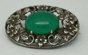 Vintage Silver Arts & Crafts Oval Chrysoprase Cabuchon Brooch Bernard Instone