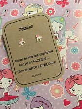 Sterling Silver Personalised Earring Gift. Unicorn. Gift For Her. Saccos