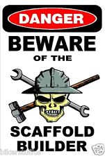 DANGER BEWARE OF THE SCAFFOLD BUILDER HELMET STICKER HARD HAT STICKER