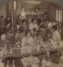 Japan. Pretty factory girls decorating pottery for foreign markets - Stereoview