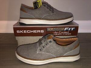 NEW Skechers 65981 Moreno Ederson Taupe Air Cooled Memory Foam Men Sz 8.5 Shoes