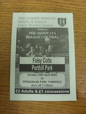 25/04/2004 Cheadle JUNIOR LEAGUE FINALE DI COPPA DI LEGA U12: FOLEY Colts V porthill PA