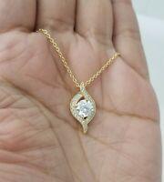 14k Yellow Gold Round Diamond Pendant Necklace