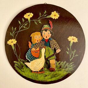 Märchen-Holzbild ALT 1950er 20cm Gelbe-Blumen-Kinder DDR Spielzeug Deko Figur