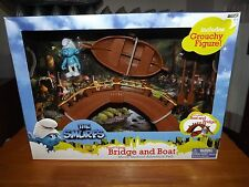 THE SMURFS, SMURF VILLAGE BRIDGE & BOAT WITH GROUCHY FIGURE, NIB, 2011