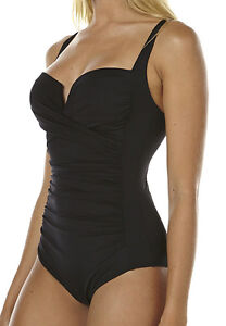 NEW + TAG BILLABONG WOMENS SIZE 8 SURFSIDE ONE PIECE SWIMSUIT BLACK SURF SWIM
