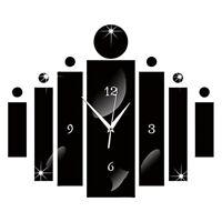 Modern Luxury 3D Mirror Silver Wall Clock Home Decor Watch Wall Sticker