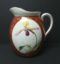 MINTON ENGLISH CHINA LARGE PITCHER, HAND DECORATED with ORCHID, c. 1872