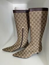 BN Vintage Gucci Logo Brown Kitten Heel Boots Size 38C