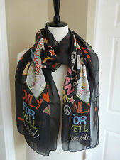 BNWT Moschino Cheap and Chic Black with a Caption Pattern 100% Silk Scarf
