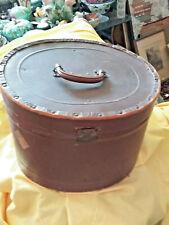 Antique Large Leather Travel Hat Box Suitcase