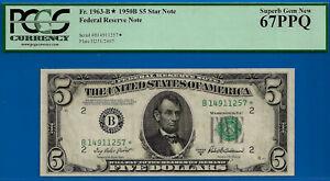 Near TOP POP - 1950-B $5 FRN (( 2nd FINEST - STAR )) PCGS 67PPQ # B14911257*-