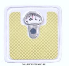 Green & White Bathroom Weighing Scale, Dolls House Miniatures, Toy