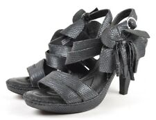 Born Crown Marilyn Black Shimmer Leather Reptile Floral Slingbacks, Women's US 7