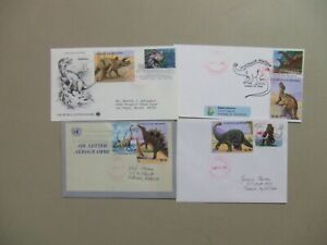 Four DINOSAUR  DUAL STAMPS covers:US-St Vincent set of four