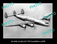 OLD POSTCARD SIZE PHOTO OF AIR INDIA AEROPLANE LOCKHEED CONSTELLATION ca1948