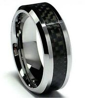 MENS TUNGSTEN CARBIDE WITH CARBON FIBRE INLAY WEDDING ENGAGEMENT ETERNITY RING