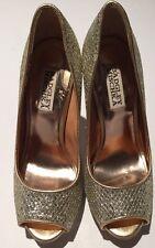 Badgley Mischka Humbie II Gold Heels 5.5 sparkle Glitter Pump Stiletto Peep
