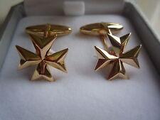 nuova 18ct 18k oro giallo knight of malta croce maltese gemelli a barretta