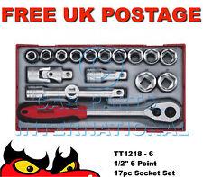 "Teng Tools 17pc 6 Point 1/2"" Metric Socket Set Rachet Wrench TT1218-6"