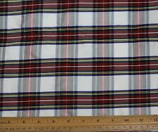 "Red/White/Blue Dupioni Plaids 100% Silk Fabric 54"" Wide, By The Yard (SD-660)"