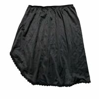 JCPenney VTG Lace Trim Asymmetrical Nylon Half Slip Black Womens S Small