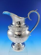 """JB Jones Coin Silver Water Pitcher Chased Acanthus Leaves 10 1/4"""" Tall (#4007)"""