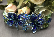 New SilverTone Flower Rhinestone Blue Color Hair Clip Barrette ha2#1