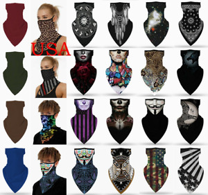 Face Mask Mouth Cover Covering Scarf Sun Protection Shield Gaiter with Loops Ear