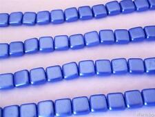 25 6x6x3mm CzechMates Two Hole Tile Beads: Pearl Coat - Baby Blue
