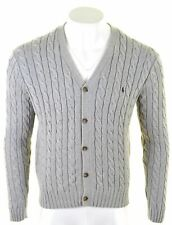 POLO RALPH LAUREN Mens Cardigan Sweater Medium Grey Cotton  MQ17