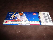 TWINS~2014 TICKET STUB 5/1/14 VS DODGERS~Red Patterson MLB DEBUT