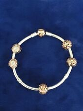 PANDORA ROSE BRACELET WITH 3(path to harmony) CHARMS & 2(love of my life) CLIPS