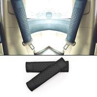 2x Car Auto Safety Belt Covers Leather Seat Belt Shoulder Pad Adjustable Black