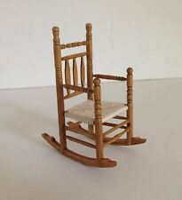 Vtg dollhouse miniature wood ROCKING CHAIR Woven Seat Ladder Back 1:12 - EUC