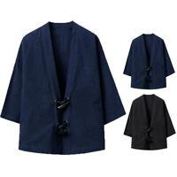 Mens Soft Retro Japanese Kimono Cardigan Vintage Chinese Style Tops Coat Jacket