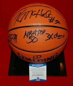 KEVIN McHALE BOSTON CELTICS signed GAME REPLICA BASKETBALL Beckett COA HOF 99