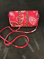 Vera Bradley RED BANDANA Trifold Clutch Wallet Crossbody Purse