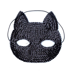 Gisela Graham Black Sequin Cat Eye Mask Halloween Masquerade Fancy Dress Costume