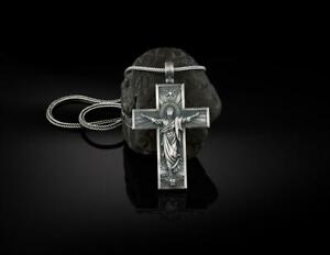Christ Jesus Ascension Cross 925 Sterling Silver Necklace with Silver Chain