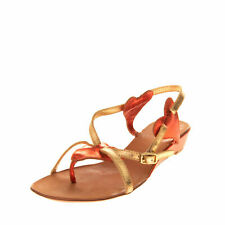 ASH NWOB Womens 37 7 Gold Orange Leather Wedge Slingback Thong Metallic Sandals