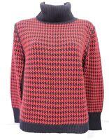 Harve Benard Women's Black & Red Houndstooth Sweater Sz M Wool Blend Turtleneck