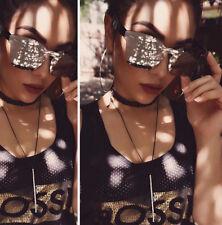 New 2017 Luxury Silver MIrror Cat Eye Women Rimless Fashion Sunglasses