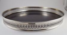 Vintage Sheffield Silver and Formica Serving Tray Round Black
