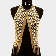 "New 18"" Drop Pearl Vest Gold Body Chain Collar Bib Choker Necklace Fringe Armor"